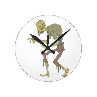 Creepy Zombie With Melting Skin With Rotting Flesh Round Clock