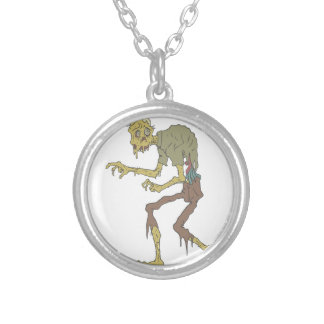Creepy Zombie With Melting Skin With Rotting Flesh Silver Plated Necklace