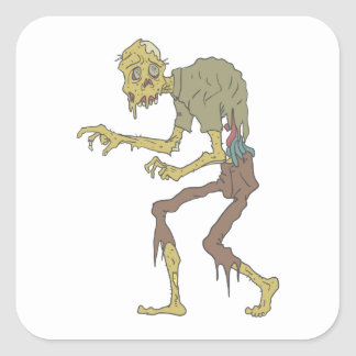 Creepy Zombie With Melting Skin With Rotting Flesh Square Sticker