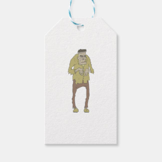 Creepy Zombie With Stitched Eyes With Rotting Gift Tags