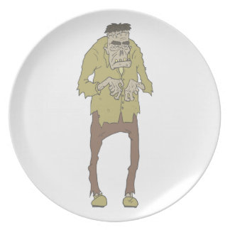 Creepy Zombie With Stitched Eyes With Rotting Plate