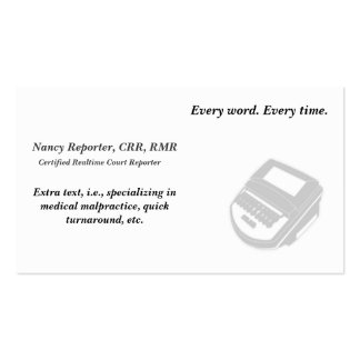 Créez vos propres cartes de visite de sténographe carte de visite standard