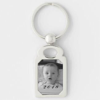 Créez votre propre porte - clé de photo de porte-clé rectangulaire argenté