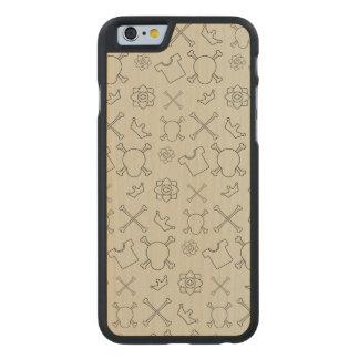 Creme brulee Skull and Bones pattern Carved Maple iPhone 6 Case