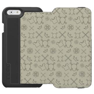 Creme brulee Skull and Bones pattern Incipio Watson™ iPhone 6 Wallet Case