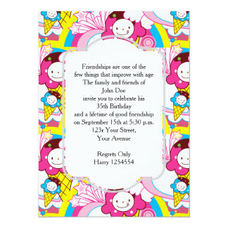 Crème glacée de Kawaii de fête d'anniversaire Uber Carton D'invitation 13,97 Cm X 19,05 Cm
