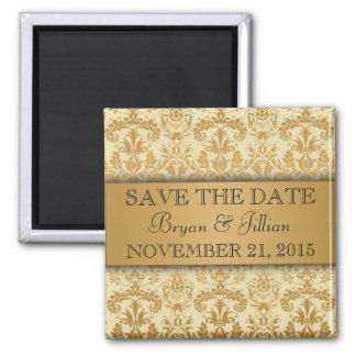 Creme & Gold Regal Damask Flourish Save the Date Square Magnet