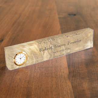 Creme Marble Desk Nameplate With Clock