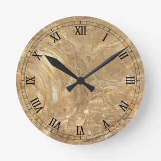 Creme Marble Faux Finish Round Clock