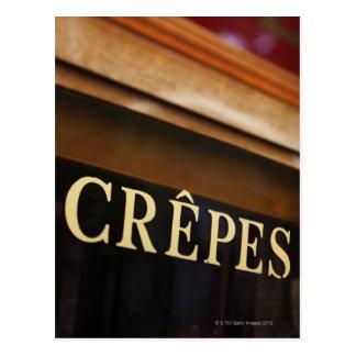 Crepes sign, Paris Postcard