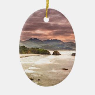 Crescent Beach from Ecola State Park Ceramic Ornament