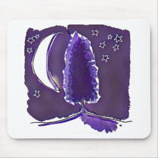 crescent moon and alone tree night scene mouse pad