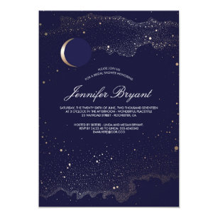 Crescent Moon and Night Stars Navy Bridal Shower Card