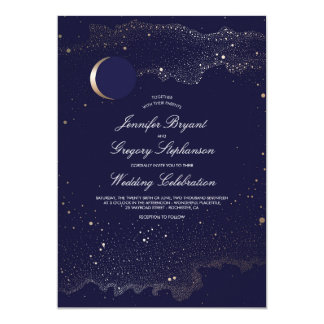 Crescent Moon and Night Stars Navy Wedding Card