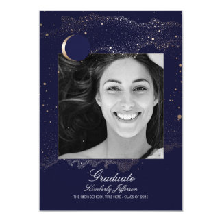 Crescent Moon and Starry Night Photo Graduation Card