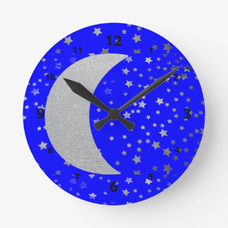 """Crescent Moon and Stars"" Wall Clock"