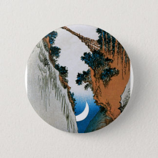 Crescent Moon, Bridge, and Waterfall. Japan. 2 Inch Round Button