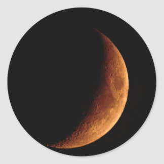 Crescent Moon Classic Round Sticker