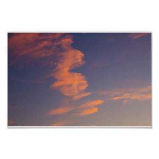 Crescent Moon, Evening Sky, Ohio Poster