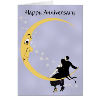 Crescent Moon Face Stars Couple Anniversary Card