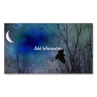 Crescent Moon Fantasy Crow Art Business Card Magnet