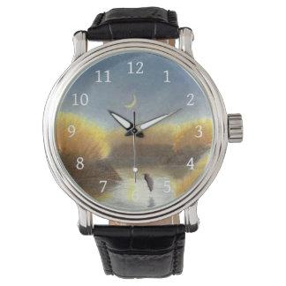 Crescent Moon Great Blue Heron  Marsh Watch