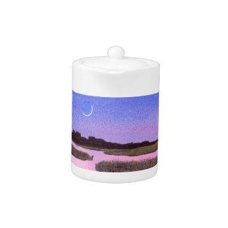 Crescent Moon & Heron in Twilight Marsh