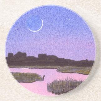 Crescent Moon & Heron in Twilight Marsh Coaster
