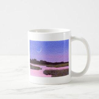 Crescent Moon & Heron in Twilight Marsh Coffee Mug