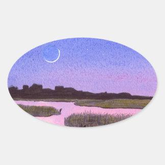 Crescent Moon & Heron in Twilight Marsh Oval Sticker