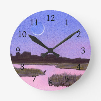 Crescent Moon & Heron in Twilight Marsh Round Clock
