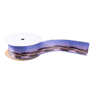Crescent Moon & Heron in Twilight Marsh Satin Ribbon