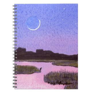 Crescent Moon & Heron in Twilight Marsh Spiral Notebook