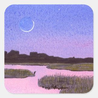 Crescent Moon & Heron in Twilight Marsh Square Sticker