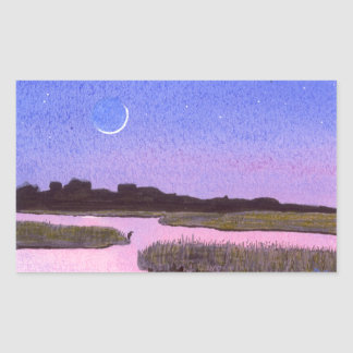 Crescent Moon & Heron in Twilight Marsh Sticker