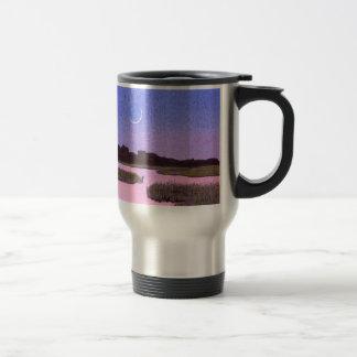 Crescent Moon & Heron in Twilight Marsh Travel Mug