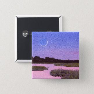 Crescent Moon & Heron Twilight Marsh 2 Inch Square Button