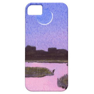 Crescent Moon & Heron Twilight Marsh Case For The iPhone 5