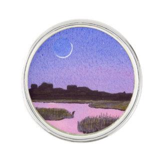 Crescent Moon & Heron Twilight Marsh Lapel Pin