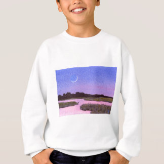 Crescent Moon & Heron Twilight Marsh Sweatshirt