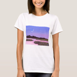 Crescent Moon & Heron Twilight Marsh T-Shirt