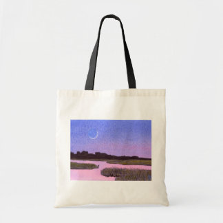 Crescent Moon & Heron Twilight Marsh Tote Bag
