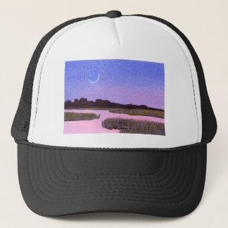 Crescent Moon & Heron Twilight Marsh Trucker Hat