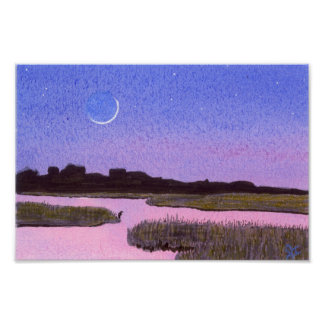 Crescent Moon Marsh & Heron Poster