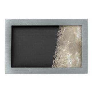 Crescent moon on black background belt buckle