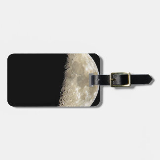 Crescent moon on black background luggage tag