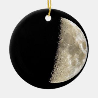 Crescent moon on black background round ceramic ornament