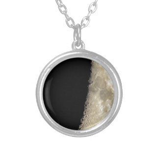 Crescent moon on black background silver plated necklace
