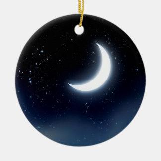 Crescent Moon over Starry Sky2 Ceramic Ornament