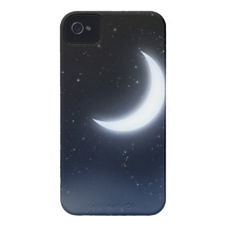 Crescent Moon over Starry Sky2 iPhone 4 Cases